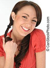 glimlachen, vrouw, brunette