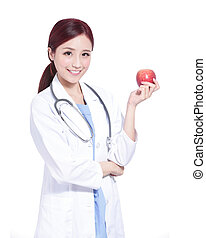 glimlachen, vrouw, houden, appel, arts