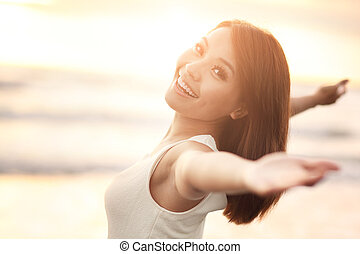 glimlachen, vrouw, kosteloos, vrolijke