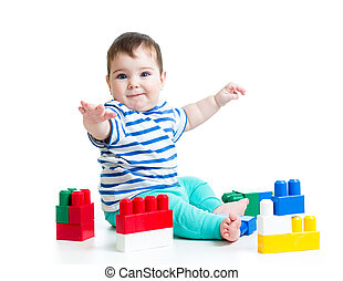glimlachende baby, jongen, met, gebouw stel
