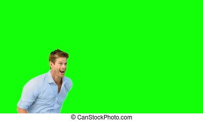 glimlachende mens, springt, op, groene, scherm