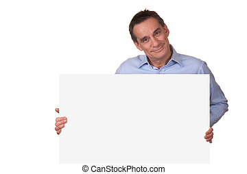glimlachende mens, vasthouden, witte , meldingsbord