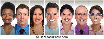 glimlachende mensen, gezichten
