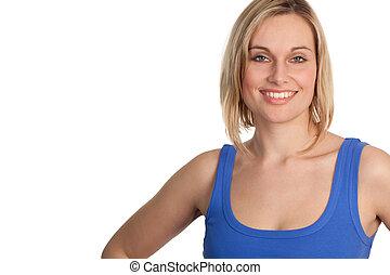 glimlachende vrouw, aantrekkelijk, ongedwongen