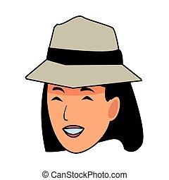 glimlachende vrouw, hoedje, spotprent, gezicht