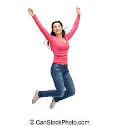 glimlachende vrouw, jonge, springt, lucht
