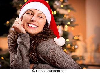 glimlachende vrouw, kerstman, hat., meisje, kerstmis, vrolijke