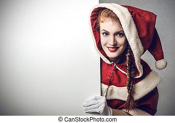 glimlachende vrouw, kerstman
