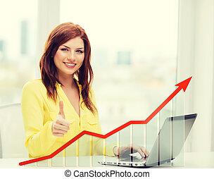 glimlachende vrouw, met, draagbare computer, en, wasdom diagram