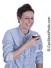 glimlachende vrouw, met, glas van rode wijn