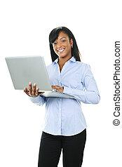 glimlachende vrouw, met, laptop computer