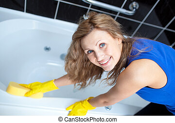 glimlachende vrouw, poetsen, een, bad