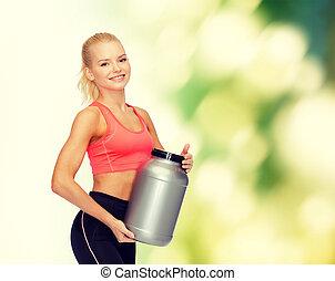 glimlachende vrouw, pot, sportief, proteïne