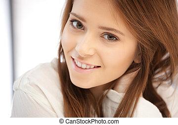 glimlachende vrouw, vrolijke