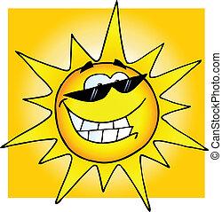 glimlachende zon, met, zonnebrillen