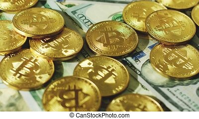 Glimmering golden coins with bitcoin symbol