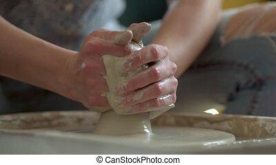 glina, wheel., praca, ceramics., produkcja, kobieta, ...