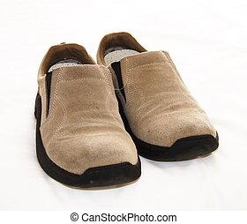 glisser-sur, daim, chaussures