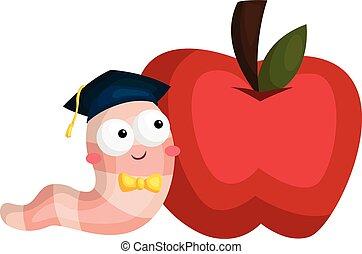 glista, jabłko