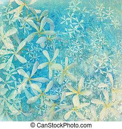 Glistening blue flower textured art background with text...