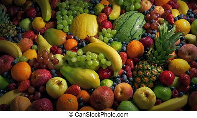 Glistening Fruit Pile Healthy Diet Concept - Moving over a...