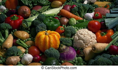 Glistening Wet Vegetables In Massive Spread - Many types of...