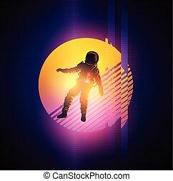 glitch, 1980's, astronauta, plano de fondo