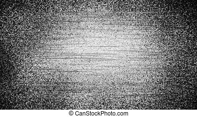 Glitch Analog Static Noise texture. Monochrome, black and white offset flickering noise. Screen damage TV effects and artifacts. VHS. Bad interference. Retro 80s, 90s