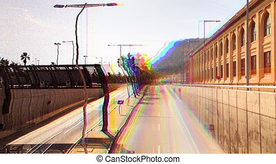 glitch and filtered rush of traffic on motorway in timelapse...