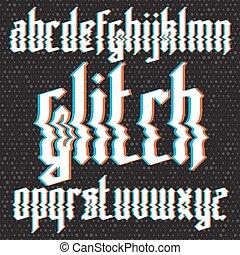 glitch, betűtípus, gót, elferdítés