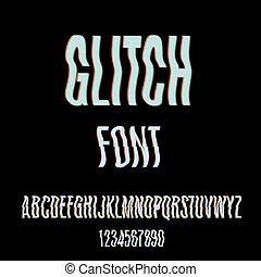 glitch, betűtípus, hatás, elferdítés
