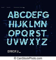 glitch, brieven, fout