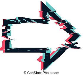 Glitch distortion frame. Vector arrow illustration