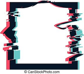 Glitch distortion frame. Vector square illustration