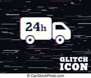 24 hours delivery service. Cargo truck symbol. - Glitch...