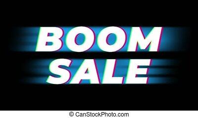 glitch, effet, vendange, vente, boom, texte, promotion