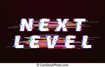 Glitch font. Next level distorted tv glitched script screen. Broken tv glowing distortion retro matrix poster. Distorted vector illustration