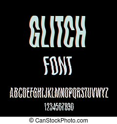 Glitch font with distortion effect. Digital decay. Corrupted image vector file. Letters and numbers vector illustration. Glitch in image processing. Television Screen Digital Effect Alphabet. Vector .