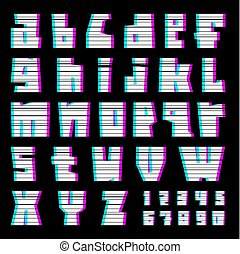 glitch font with interference, lowercase - glitch alphabet...