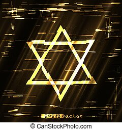 glitch golden star of David sign - Glitch golden star of...