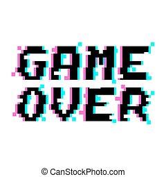 glitch, gra, wektor, na, pixel