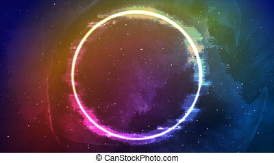 Glitch laser neon circle on grunge sky background video ...