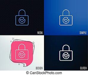 Lock with Check line icon. Private locker sign.
