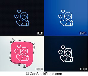 Woman in Love line icon. Heart sign.