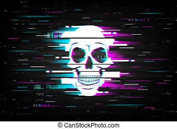 Glitch on screen with human skull vector backdrop