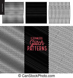 Glitch patterns set. Three geometrical glitch seamless...