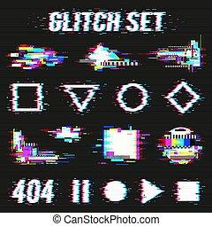 glitch, set, zwarte achtergrond