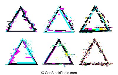 Glitch triangle frame. Destroyed geometric shape with distorted signal or noise. Light bug effects and colorful defected glitches set or collection for logo isolated vector illustration