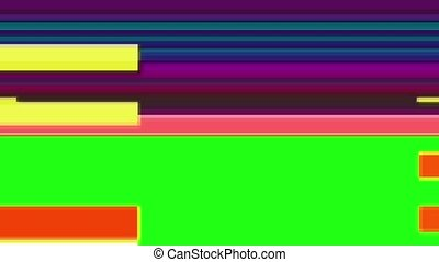 Glitch TV Screen. Colourful Stripes - Horizontal Glitch on a...