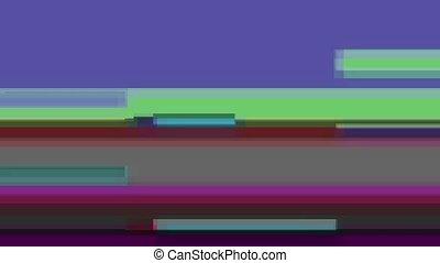 Glitch TV Screen. Desaturated Green Background - Horizontal...